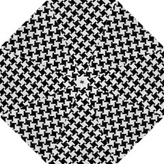 Houndstooth2 Black Marble & White Leather Folding Umbrellas by trendistuff