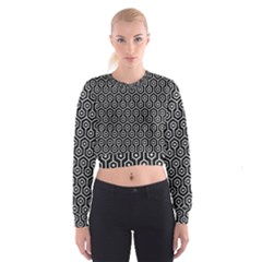 Hexagon1 Black Marble & White Leather (r) Cropped Sweatshirt