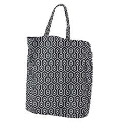 Hexagon1 Black Marble & White Leather (r) Giant Grocery Zipper Tote by trendistuff