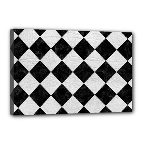 Square2 Black Marble & White Leather Canvas 18  X 12  by trendistuff