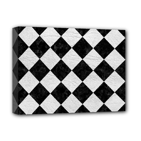 Square2 Black Marble & White Leather Deluxe Canvas 16  X 12   by trendistuff