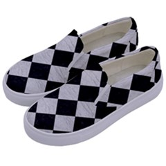 Square2 Black Marble & White Leather Kids  Canvas Slip Ons by trendistuff