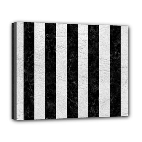 Stripes1 Black Marble & White Leather Deluxe Canvas 20  X 16   by trendistuff