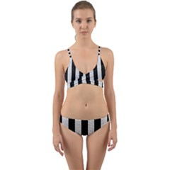 Stripes1 Black Marble & White Leather Wrap Around Bikini Set
