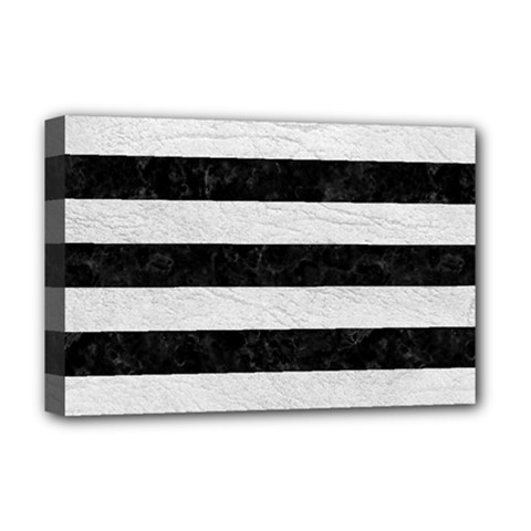 Stripes2 Black Marble & White Leather Deluxe Canvas 18  X 12   by trendistuff