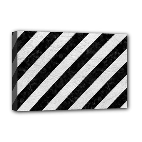 Stripes3 Black Marble & White Leather (r) Deluxe Canvas 18  X 12   by trendistuff