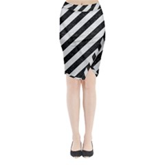 Stripes3 Black Marble & White Leather (r) Midi Wrap Pencil Skirt