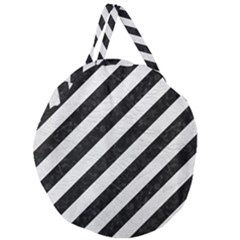 Stripes3 Black Marble & White Leather (r) Giant Round Zipper Tote by trendistuff