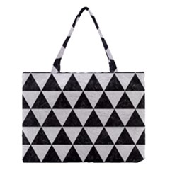 Triangle3 Black Marble & White Leather Medium Tote Bag by trendistuff