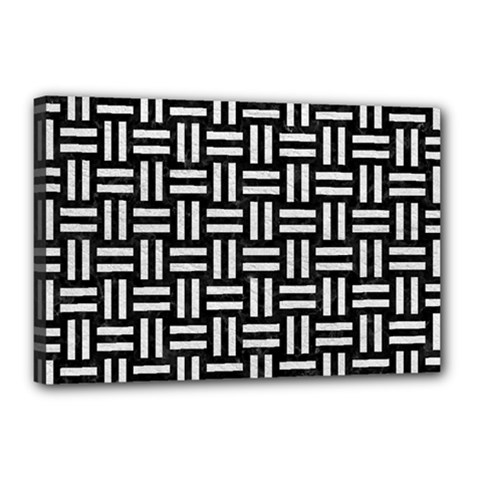 Woven1 Black Marble & White Leather (r) Canvas 18  X 12  by trendistuff
