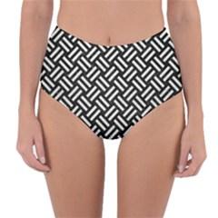 Woven2 Black Marble & White Leather (r) Reversible High Waist Bikini Bottoms