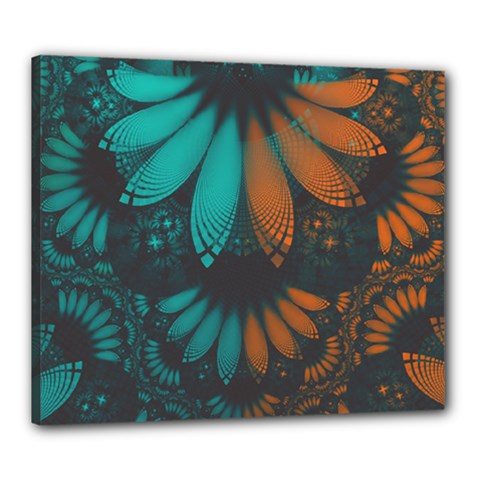 Beautiful Teal And Orange Paisley Fractal Feathers Canvas 24  X 20  by beautifulfractals