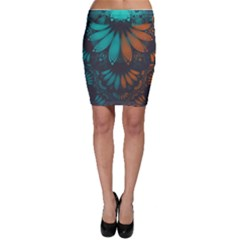 Beautiful Teal And Orange Paisley Fractal Feathers Bodycon Skirt by beautifulfractals