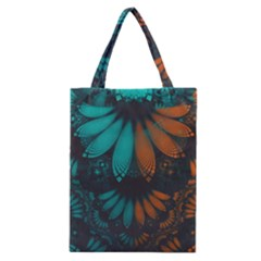 Beautiful Teal And Orange Paisley Fractal Feathers Classic Tote Bag by beautifulfractals
