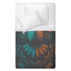 Beautiful Teal And Orange Paisley Fractal Feathers Duvet Cover (single Size) by beautifulfractals