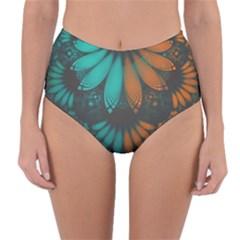 Beautiful Teal And Orange Paisley Fractal Feathers Reversible High Waist Bikini Bottoms by beautifulfractals