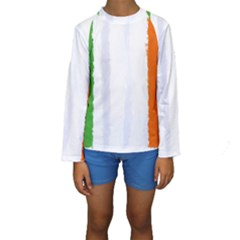 Flag Ireland, Banner Watercolor Painting Art Kids  Long Sleeve Swimwear