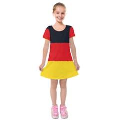 German Flag, Banner Deutschland, Watercolor Painting Art Kids  Short Sleeve Velvet Dress