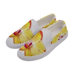 Phalaenopsis Yellow Flower, Floral Oil Painting Art Women s Canvas Slip Ons by picsaspassion