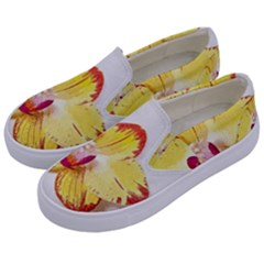 Phalaenopsis Yellow Flower, Floral Oil Painting Art Kids  Canvas Slip Ons by picsaspassion