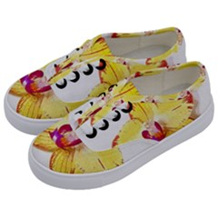 Phalaenopsis Yellow Flower, Floral Oil Painting Art Kids  Classic Low Top Sneakers by picsaspassion