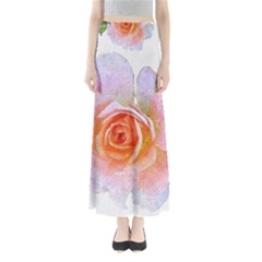Pink Rose Flower, Floral Oil Painting Art Full Length Maxi Skirt by picsaspassion