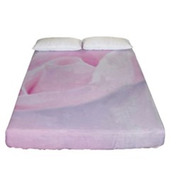 Rose Pink Flower, Floral Aquarel   Watercolor Painting Art Fitted Sheet (california King Size) by picsaspassion