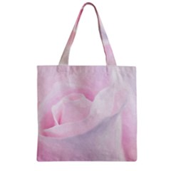 Rose Pink Flower, Floral Aquarel   Watercolor Painting Art Zipper Grocery Tote Bag by picsaspassion