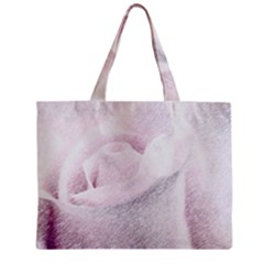 Rose Pink Flower  Floral Pencil Drawing Art Zipper Mini Tote Bag by picsaspassion
