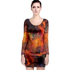 Abstract Acryl Art Long Sleeve Bodycon Dress