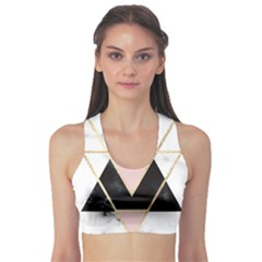 Triangles,gold,black,pink,marbles,collage,modern,trendy,cute,decorative, Sports Bra by 8fugoso