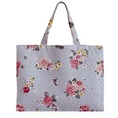 Floral Blue Zipper Medium Tote Bag by 8fugoso