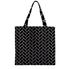 Brick2 Black Marble & White Linen (r) Zipper Grocery Tote Bag by trendistuff