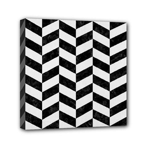 Chevron1 Black Marble & White Linen Mini Canvas 6  X 6  by trendistuff