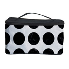 Circles1 Black Marble & White Linen Cosmetic Storage Case by trendistuff