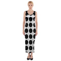 Circles1 Black Marble & White Linen Fitted Maxi Dress by trendistuff