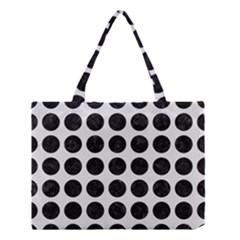 Circles1 Black Marble & White Linen Medium Tote Bag by trendistuff