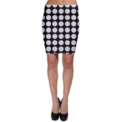 Circles1 Black Marble & White Linen (r) Bodycon Skirt
