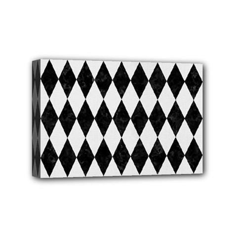 Diamond1 Black Marble & White Linen Mini Canvas 6  X 4  by trendistuff