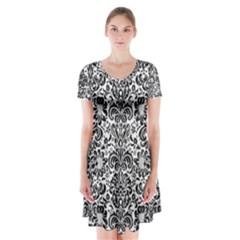 Damask2 Black Marble & White Linen Short Sleeve V Neck Flare Dress by trendistuff
