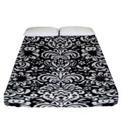 Damask2 Black Marble & White Linen (r) Fitted Sheet (king Size) by trendistuff