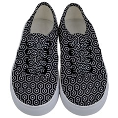 Hexagon1 Black Marble & White Linen (r) Kids  Classic Low Top Sneakers