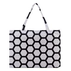Hexagon2 Black Marble & White Linen Medium Tote Bag by trendistuff