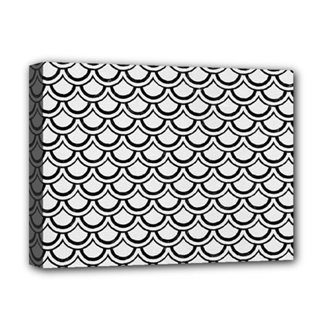 Scales2 Black Marble & White Linen Deluxe Canvas 16  X 12   by trendistuff