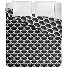 Scales3 Black Marble & White Linen (r) Duvet Cover Double Side (california King Size) by trendistuff