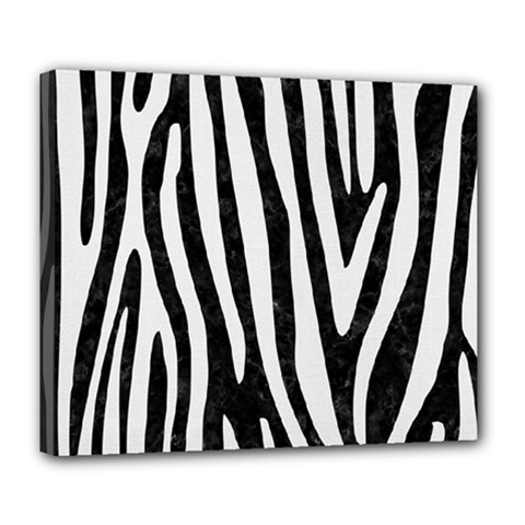 Skin4 Black Marble & White Linen Deluxe Canvas 24  X 20   by trendistuff