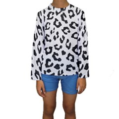 Skin5 Black Marble & White Linen (r) Kids  Long Sleeve Swimwear