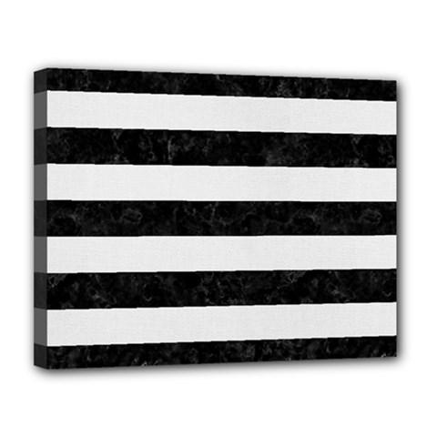 Stripes2 Black Marble & White Linen Canvas 14  X 11  by trendistuff