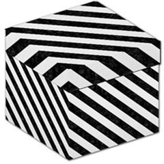 Stripes3 Black Marble & White Linen Storage Stool 12   by trendistuff