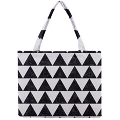Triangle2 Black Marble & White Linen Mini Tote Bag by trendistuff